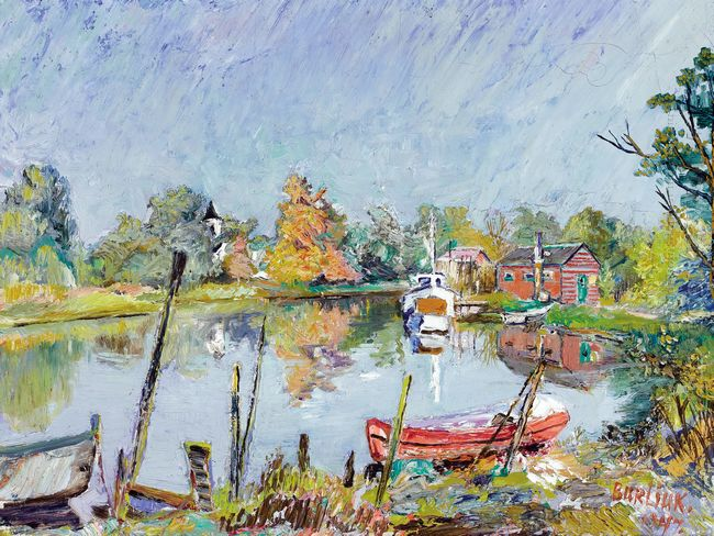 View Of The Water Rural Landscape With A Lake 1947