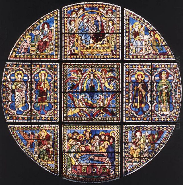 Window Showing The Death Assumption And Coronation Of The Virgin