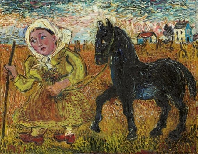 Woman In Yellow Dress With Black Horse 1951