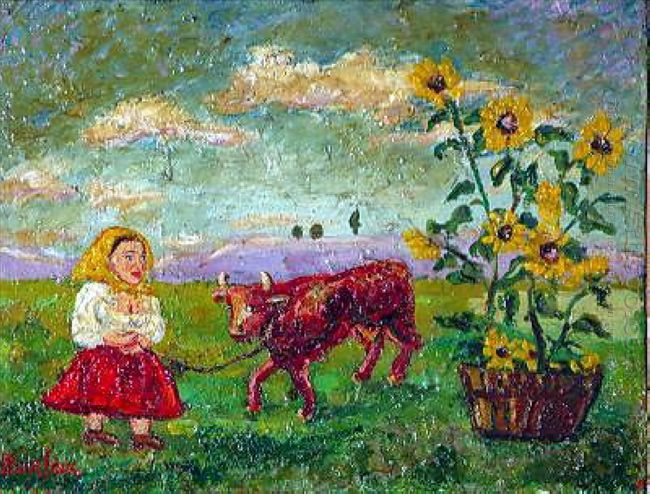 Woman With Red Cow