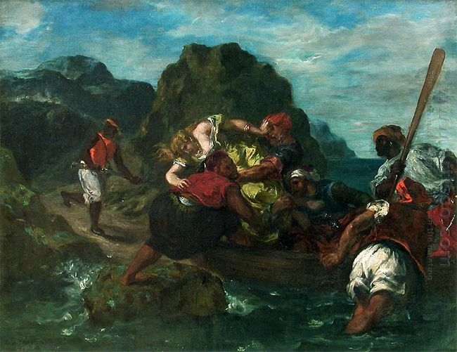 African Pirates Abducting A Young Woman 1852
