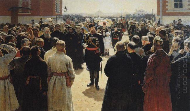 Aleksander Iii Receiving Rural District Elders In The Yard Of Pe