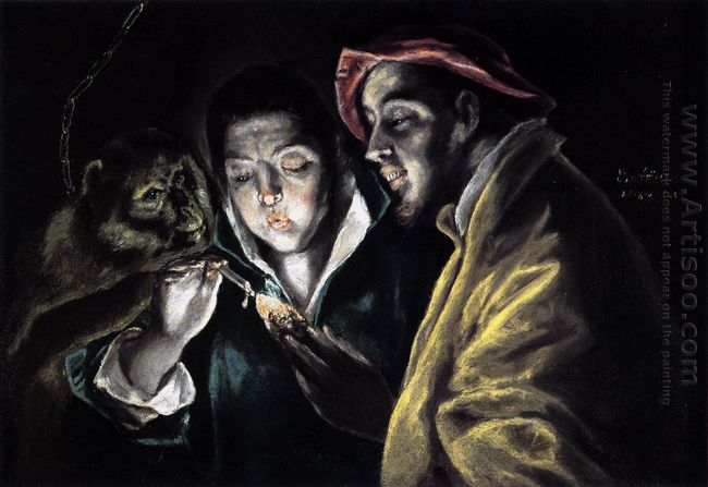 Allegory Boy Lighting Candle In The Company Of An Ape And A Fool