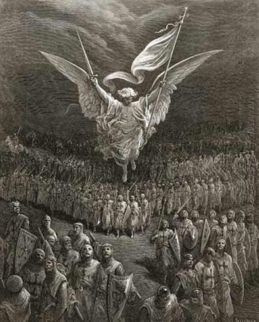 An Angel Leading The Crusaders To Jerusalem