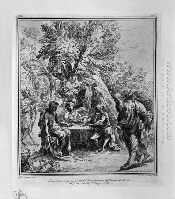 Apparition Of The Angels To Abraham From L Carracci