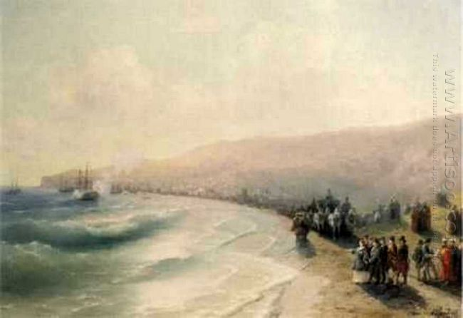 Arrival Catherine The Second To Pheodosiya 1883