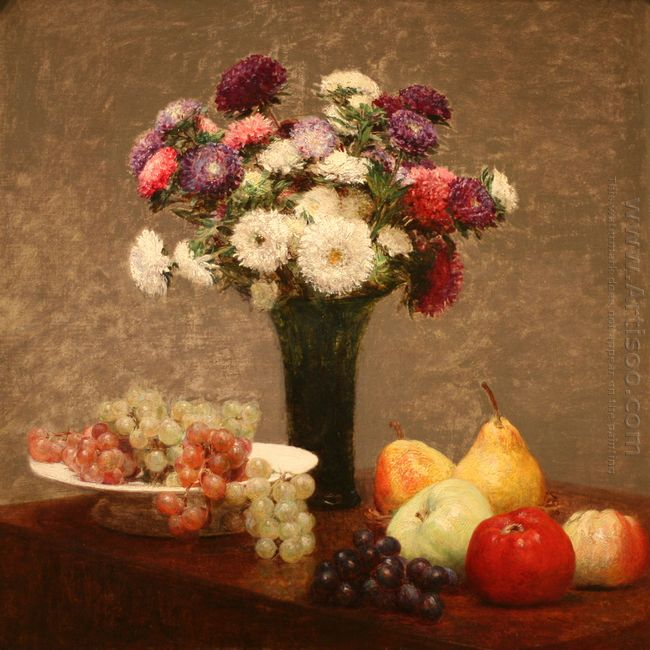 Asters And Fruit On A Table 1868