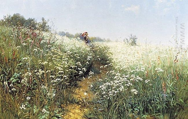 A Woman Under An Umbrella On A Flowering Meadow 1881