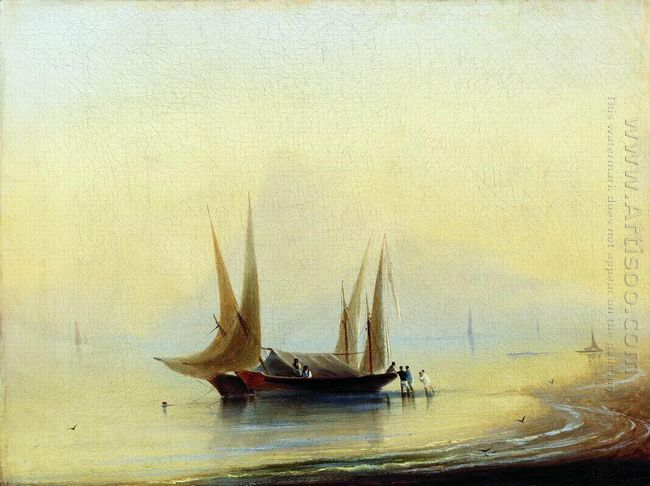 Barge In The Sea Shore
