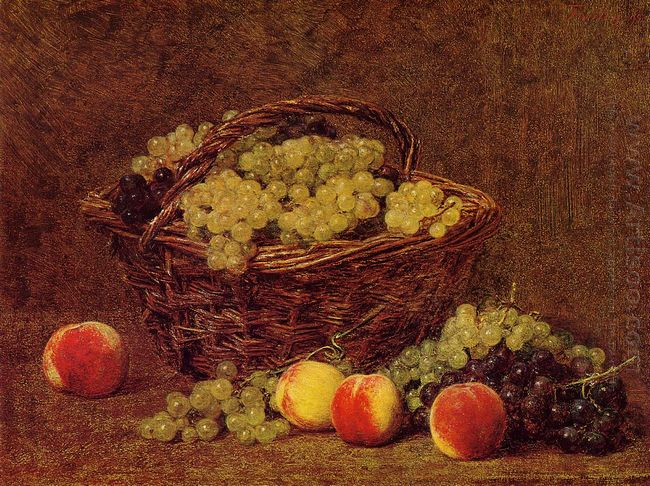 Basket Of White Grapes And Peaches 1895