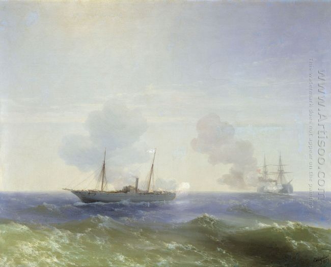 Battle Of Steamship Vesta And Turkish Ironclad 1877