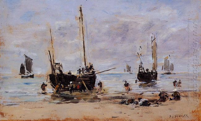 Berck Fishermen At Low Tide