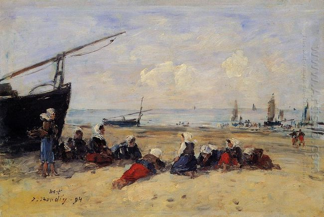 Berck Fisherwomen On The Beach Low Tide 1894