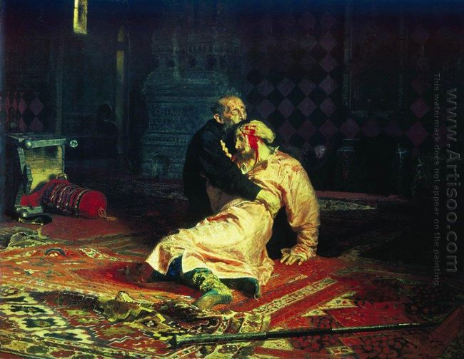 Ivan The Terrible And His Son Ivan On November 16 by Ilya Repin