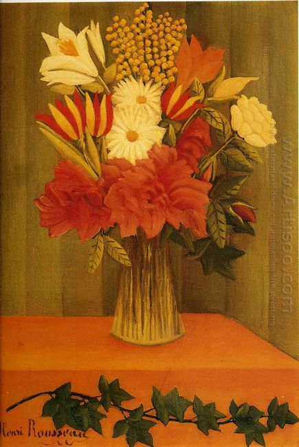 Oil Vase Of Flowers