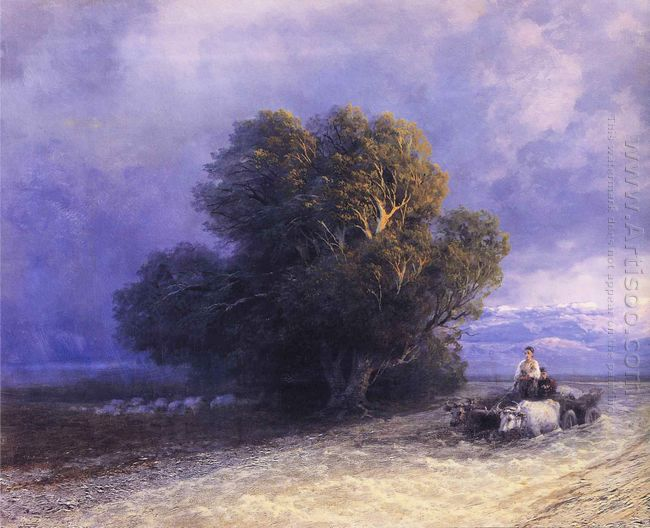 Ox Cart Crossing A Flooded Plain 1897