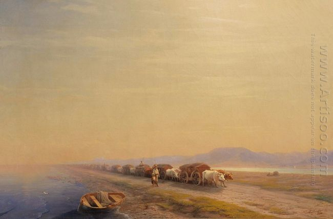 Ox Train On The Sea Shore 1860