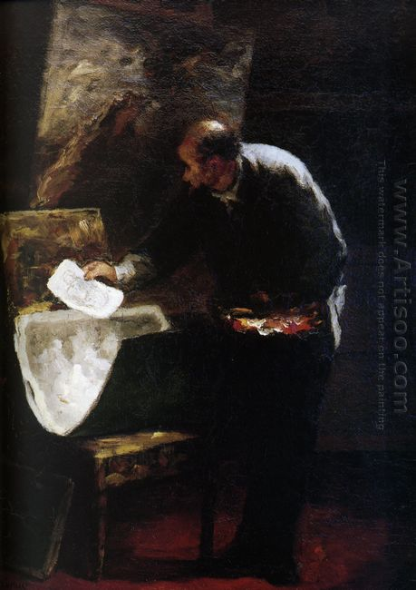 Painter Dividing Into Sheets A Paperboard Of Drawing