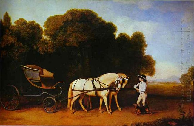 Park Phaeton With A Pair Of Cream Pontes In Charge Of A Stable L