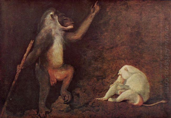 Pavian And Albino Makake
