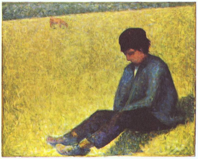 Peasant Boy Sitting In A Meadow 1883