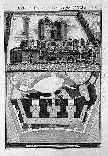 Plan And Elevation Of The Castle Ruins Stripped Of Any Building