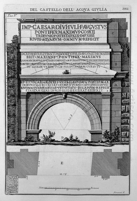 Plan And Elevation Of The Monument Of The Waters And Julia Marci