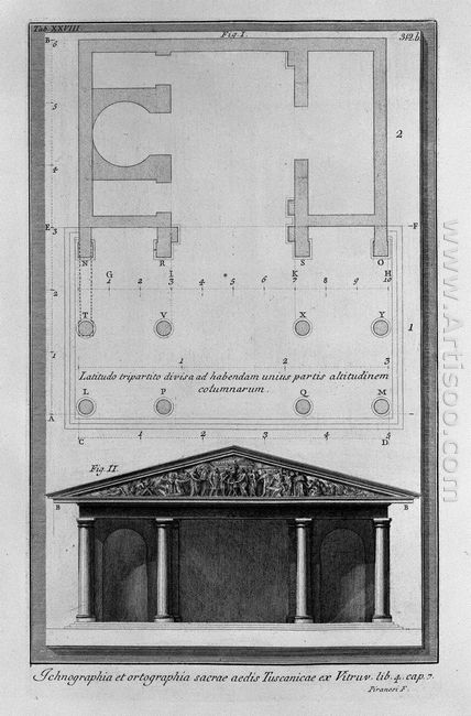 Plan And Elevation Of The Second Temple Tuscan Vitruvius