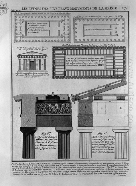 Plan Elevation And Details Of Doric Temples In Greece From Le Ro