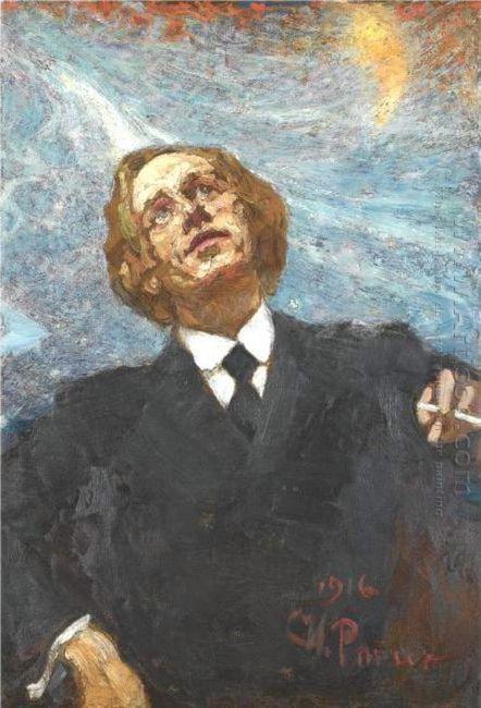 Poet Futurist Portrait Of Vladimir Vladimirovich Mayakovsky 1916