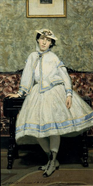 Portrait Of Alaide Banti In White Dress 1866