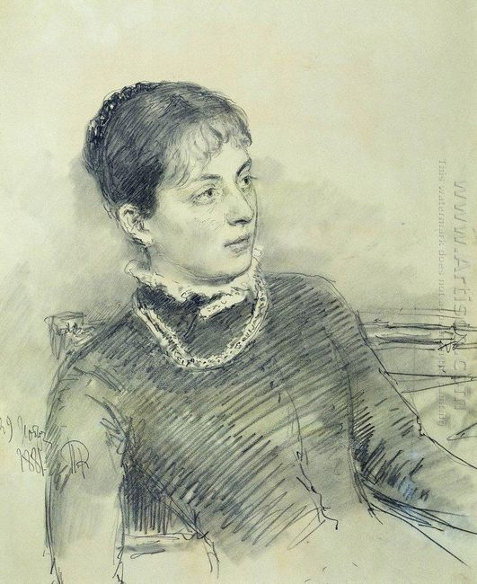 Portrait Of A Young Wife Sitting On The Couch 1881