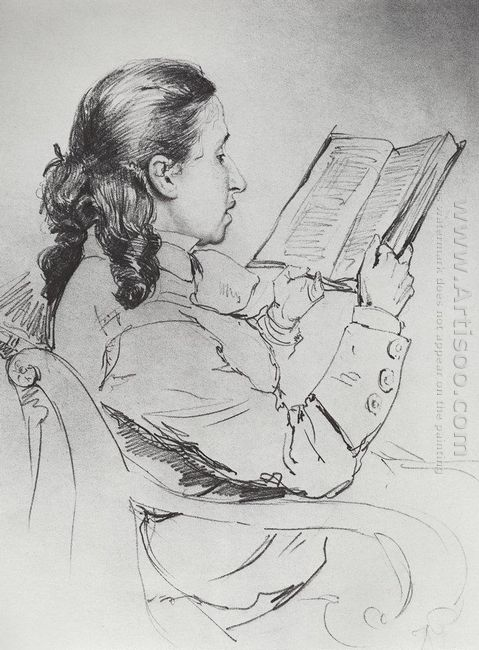 Portrait Of E G Mamontova Reading 1879