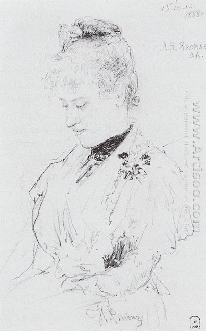Portrait Of L N Yakovleva 1888