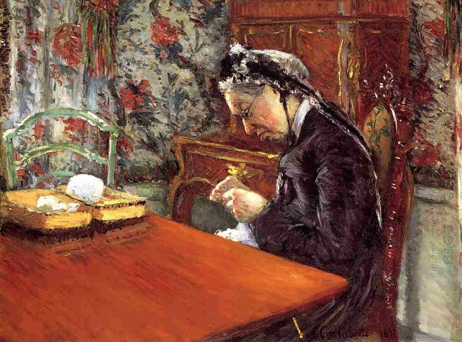 Portrait Of Mademoiselle Boissiere Knitting 1877