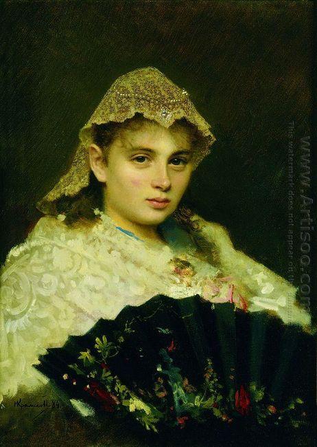 Portrait Of Olga Afanasiyevna Raftopulo 1884
