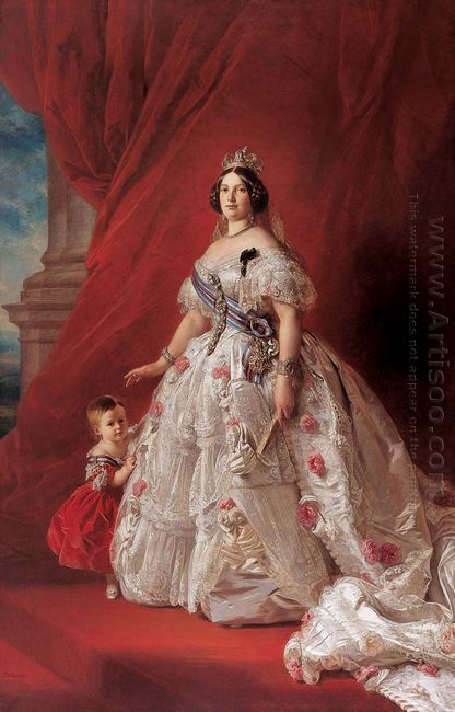 Portrait Of Queen Isabella Ii Of Spain And Her Daughter Isabella