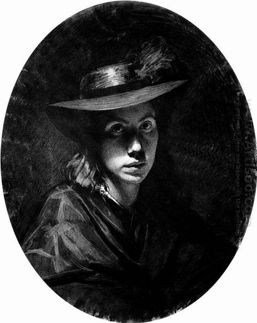 Portrait Of Sofia Nikolaevna Kramskoy In Hat 1863