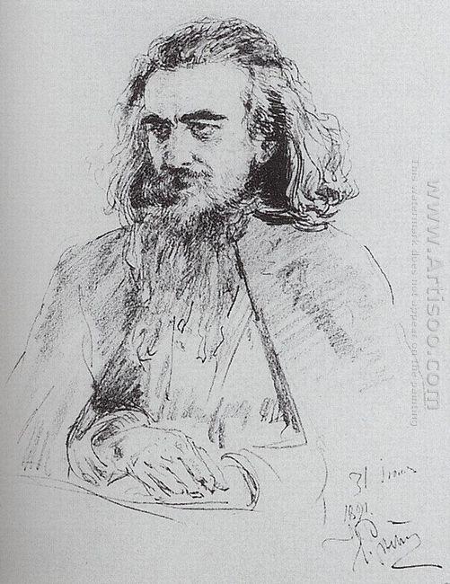Portrait Of Vladimir Sergeyevich Solovyov 1891