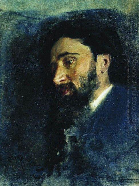 Portrait Of Writer Vsevolod Mikhailovich Garshin Study 1883