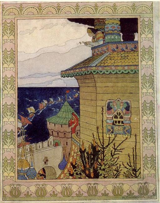 Princess In The Prison Tower Illustration Of The Russian Fairy T