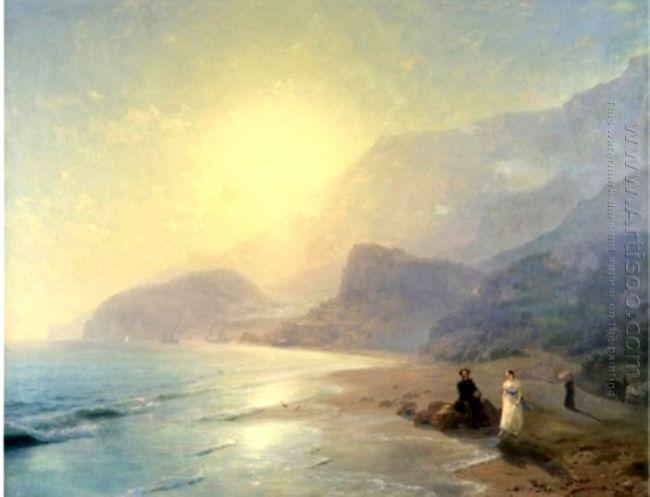Pushkin And Countess Raevskaya By The Sea Near Gurzuf And Parten