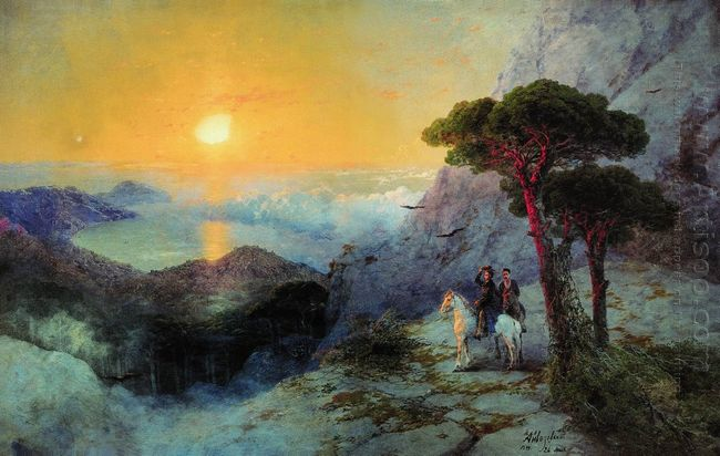 Pushkin At The Top Of The Ai Petri Mountain At Sunrise 1899