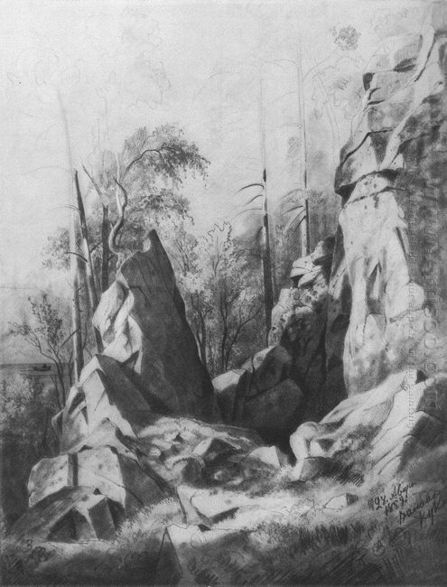 Rocks On The Island Of Valaam Kukko 1859