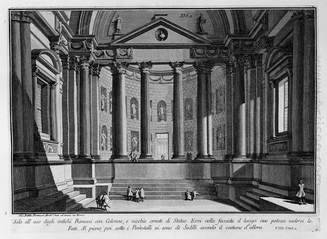 Room Use Of The Ancient Romans With Columns And Niches Adorned W
