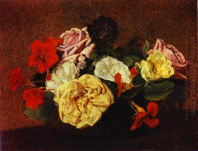 Roses And Nasturtiums In A Vase 1883
