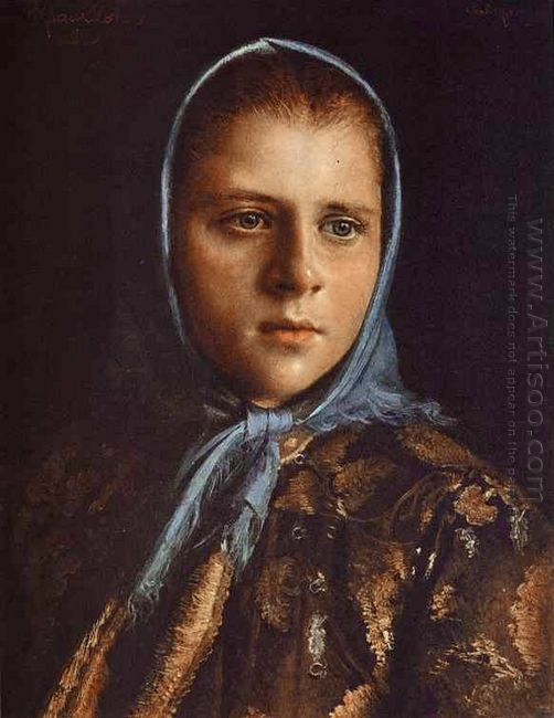 Russian Girl In A Blue Shawl 1882
