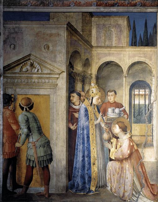 Saint Lawrence Receiving The Treasures Of The Church From Pope S