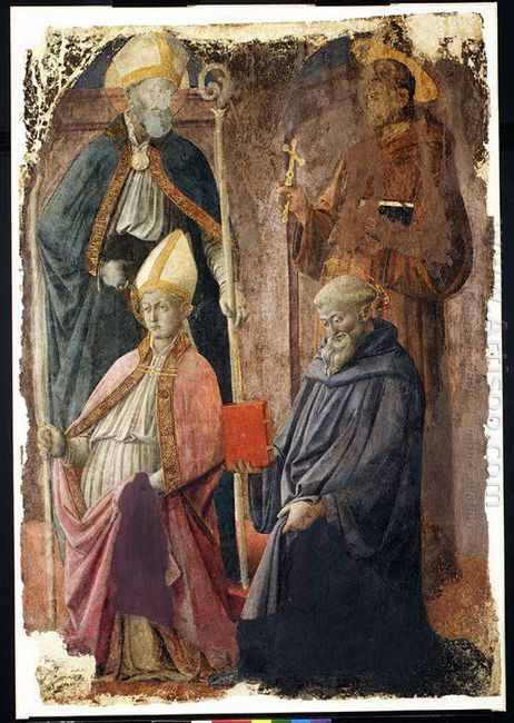 Saints Augustin And Francis A Bishop Saint And Saint Benedict