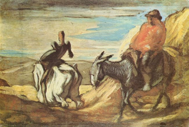 Sancho Panza And Don Quixote In The Mountains